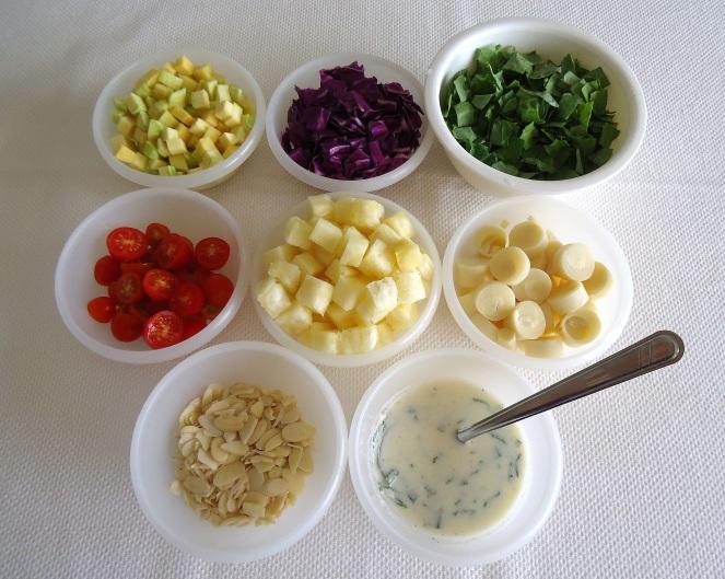 Ingredientes - salada refrescante com abacaxi