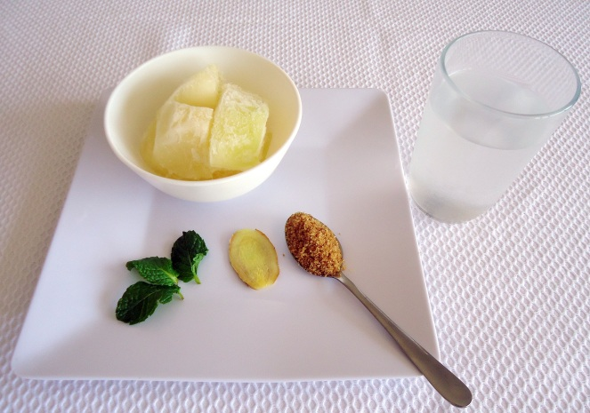 Ingredientes - suco de melão e água de coco
