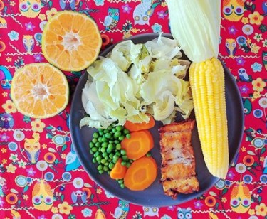 Prato saudável - milho cozido - filé de peixe grelhado