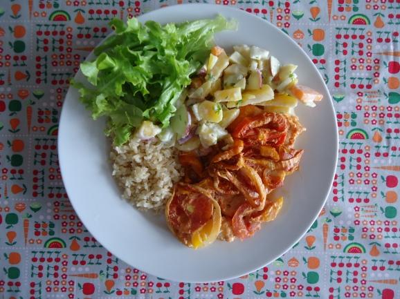 Prato com a salada de Batata mandioquinha
